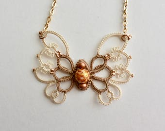 Tatted Butterfly Necklace