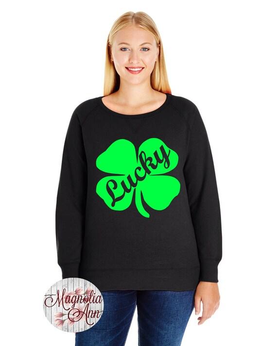 Lucky Four Leaf Clover, Shamrock Sweatshirt, Sizes Small-4X, Plus Size Sweatshirt, St Patrick's Day Shirt, St Patrick's Day Sweatshirt