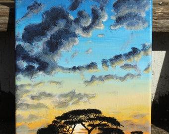 African sunset tree silhouette, original acrylic painting