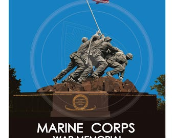 Marine Corps War Memorial WPA Style Poster, Art, Decor