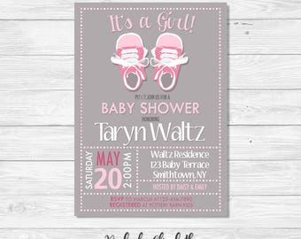 Baby Shower Invitation, It's a Girl Invitation, Baby Sneakers Invitation, Sneaker Invitation, *DIGITAL FILE*