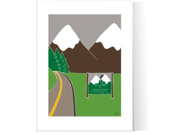 Twin Peaks Poster / Welcome To Twin Peaks Illustration / David Lynch / TV Series Print / Printable / Instant Download / 2JPEG Files