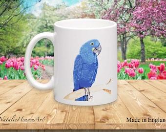 Blue Parrot Mug for Her Tropical Cups and Mugs, English Ceramic Printed Mug Hyacinth Macaw Mugs Birthday Gift for Bird Lovers, Tasse Taza