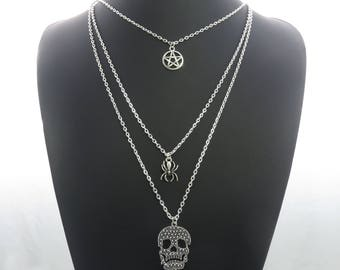 Skull, Cross, Spider, & Pentagram Charm Pendant Multi-Layer Silver-Tone Chain Necklace Statement Sweater Chain ladies jewellery UK SELLER