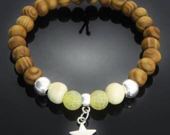 Star Silver Tone Charm, Dyed Yellow Stone, Cream Wood, Burly Wood Bead Bracelet surfer yoga meditation mens ladies gift jewellery UK SELLER