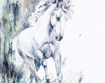 White stallion handmade watercolor GICLEE print
