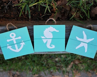 Seahorse, Starfish, Anchor Trio