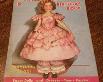 Shirley Temple's Birthday Book Circa 1935 Movie Star Paper Dolls, Puzzles