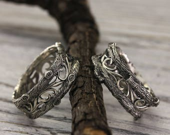 his and her tree wedding bands vintage style his and her rings set tree - Silver Wedding Rings For Her