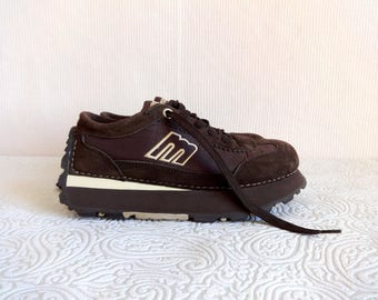 Mustang Brown Boots Women's Sneakers Suede Leather Lace -ups Platform Boots Comfortable Free Time Boots Marked size 38 Fashion 90's