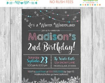 Winter Wonderland Birthday Invite - Chalkboard - Snowflake Birthday Party Invitation - Winter Wonderland Party Favors - Winter Birthday