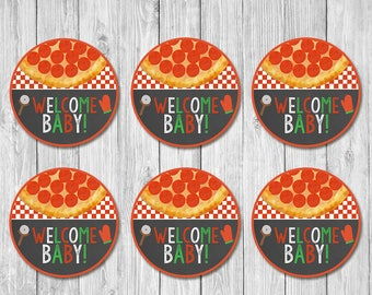 Pizza Party Baby Shower Cupcake Toppers - Chalkboard - Baby Shower Welcome Baby Toppers  - Couples Baby Shower - Pizza Party Shower Favors
