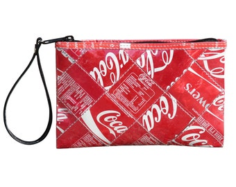 Coca Cola Purse, Medium zip wristlet, FREE SHIPPING, clutch wallet, clutch zipper Bag, Small Accessory, Wallet purse, women's wallet