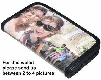 LARGE custom women's zip wallet with your pictures printed on it - FREE SHIPPING, gift gifts for mom girlfriend picture from me personalized