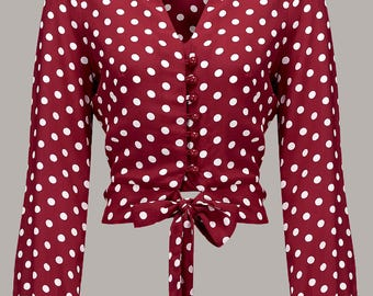 Clarice Blouse in Wine Spot by The Seamstress of Bloomsbury