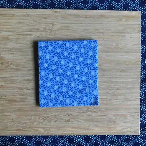 """Premium Cotton Fabric Fat Quarter - Designer Fabric - Quilting Fabric - Fat Quarters 18"""" x 21"""" Baby Blue Floral Print"""