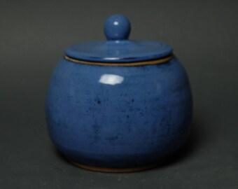 Handmade Pottery Jar, Blue Canister