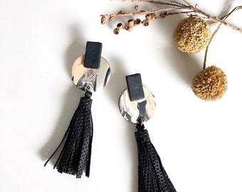 Black Tassel Earrings, Long Earrings, Polymer Clay Earrings, Marble Earrings, Fashion Jewerly.