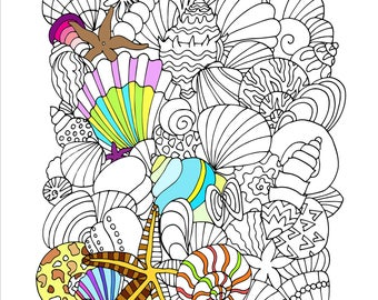 Printable Seashells Coloring Page