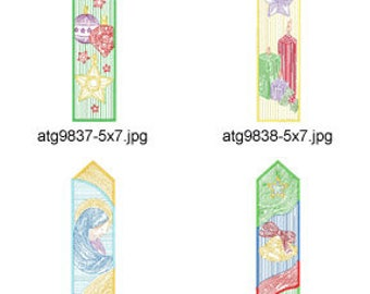 Christmas-BookMarks 5x7  ( 7 Machine Embroidery Designs from ATW )  XYZ17K
