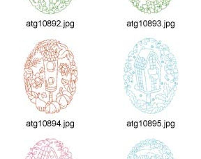Redwork-Birdhouse-Ovals ( 10 Machine Embroidery Designs from ATW ) XYZ17F