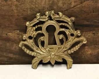 Vintage Brass Keyhole, Vintage Door Hardware, Architectural Salvage, Salvaged Hardware, Brass Door Hardware