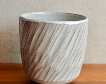 Handless ceramic cup, white hand-carved stoneware - 12 oz.