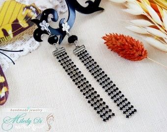 Christmas jewelry gift-for-mom Black crystal earrings Fairytale gift-for-her Long stud earrings Rhinestones wedding jewelry for bridesmaid