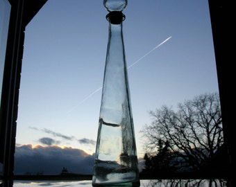 """Vintage Spanish Tall Bottle With Stopper / Decanter / Wine Bottle / Hand Blown Glass / Space Age / Cone Shaped / 17 1/2 """" / 1 Litre/ 33.8 Oz"""