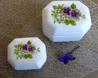 60s / Italian / Porcelain Box Set / Vanity Set / Trinket Box / Jewelry Box / Mid Century / Marisa/ Set Of Two / Violets / Mint / Gifts Ideas