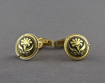 Vintage Spanish Damascene Flower Cufflinks