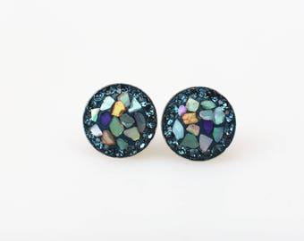 Sterling Silver Stud Earrings, Mother of Pearl Swarovsky Crystals, Montana(Navy) Color, Unique Style Stud Earrings.