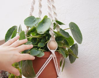 Macrame planter-macrame plant hanger-Cotton 100% crude color