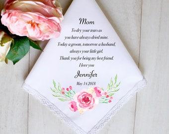 Wedding Handkerchief, Mother of the bride handkerchief, Mother of the bride gift, Wedding Hankie, Wedding gift for Mom, Gift for Mom #1