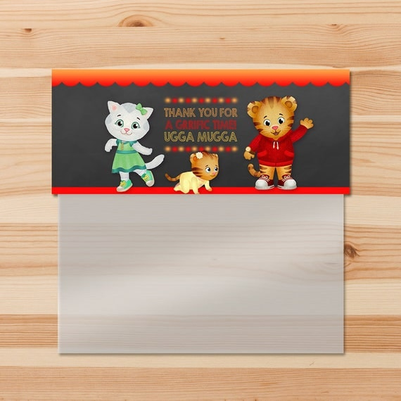 Daniel Tiger Birthday Candy Bag Topper - Red Chalkboard - Boy Daniel Tiger Ziptop Bag Topper - Daniel Tiger Birthday Party - Daniel Tiger