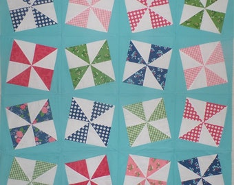 Twisting Pinwheels-Quilt Top-Unfinished Quilt