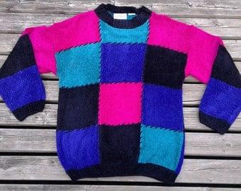 Vintage 80's / 90's Knit Crew-neck Sweater / Colour Block Pink / Teal / Blue / Purple / Black
