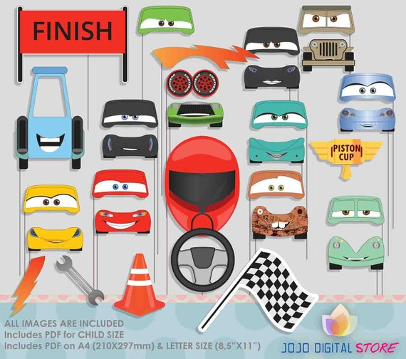 SALE Racing Cars Photo Booth Props For Racing Sport Cars - Sports cars 5 letters