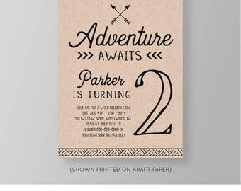 Adventure Awaits Birthday Invitation | Printable Tribal Invite | 100% Editable Template | Kraft Paper | INSTANT DOWNLOAD | Templett #047NBD