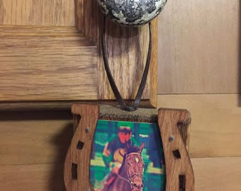 Derby Horse and Jockey Wooden Ornament