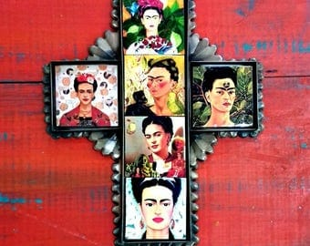 "Frida Mexican cross folk art ceramic tiles and metal collection of Frida portraits Hacienda southwest decor wall art 8 3/4"" x 7""x 0 .5"""