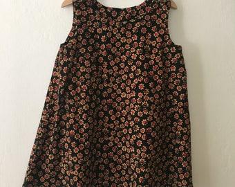Vintage Little Girls Dress Corduroy Flower Shift Dress Size 5t - 6 Toddler Girls