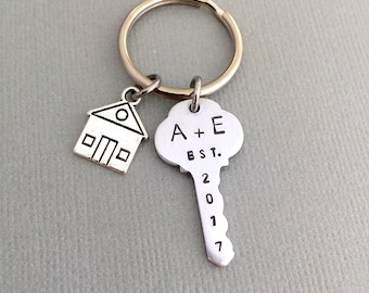 Personalized First Home Keychain, House Warming Gift, Hand Stamped Keychain, Home Sweet Home, Year Keychain, House Keychain, House Keyring