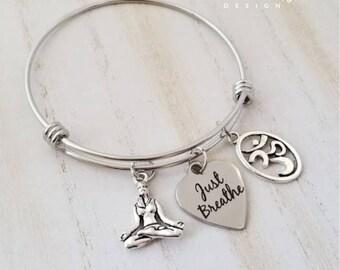 Just Breathe Bangle Bracelet-Yoga Bracelet-Stainless Steel Bangle-Om Bracelet-Yoga Jewelry-Meditation Jewelry-Serenity Collection
