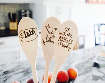 Gilmore Girls | Funny Kitchen Spoons | Where You Lead I Will Follow | Oy With The Poodles Already | Gilmore Girls Fan Gift