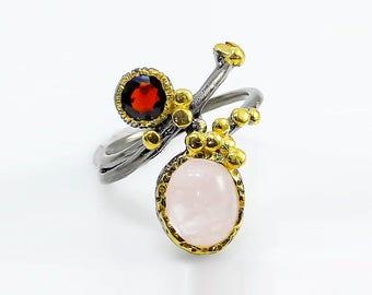 Pink Morganite Ring, Gemstone Ring, Pink stone Ring, garnet black Ring, Modern Art Ring, January Birthstone Jewelry, Coral Ring, ocean ring