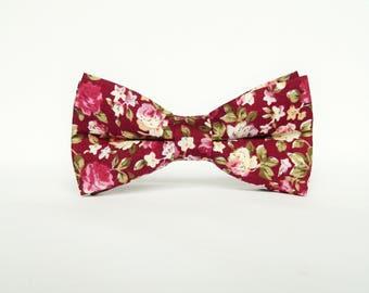 Men's floral burgundy bow tie floral Pre-tied bow tie gift for men burgundy wedding bow tie groomsmen