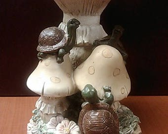 Turtle design bird feeder Figure that is hand painted