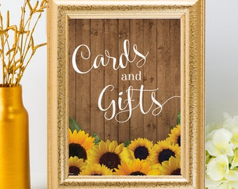 """Printable Rustic Sunflowers Cards and Gifts Sign - 2 Sizes: 8""""x10"""" and 5""""x7"""" Signs, JPG Instant Download (NOT EDITABLE)"""