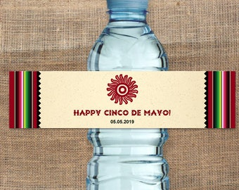 """Printable Mexican Serape Party Fiesta Water Bottle Labels, Shower, Personalized 8"""" x 2"""" Labels, Editable PDF, Instant Download"""